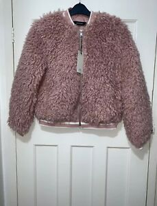Bnwt Pink Fur With Pockets Zara Was Size Bomber Faux Welt L Jacket pPxUqZU