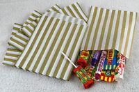 "100 Gold & White Candy Stripe Paper Sweet Bags Wedding 5"" X 7"" Pick 'n' Mix Bags"