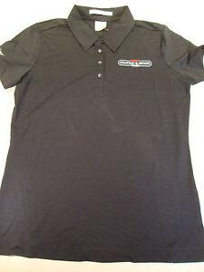 NEW NikeGolf Womens Nike Dri Fit Black Polo Shirt Solid Black T ... c078872862