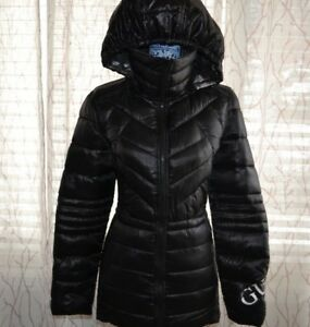 Guess Puffer Coat Silver Black Reversible To Black Misses