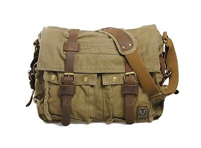 Men's Vintage Canvas Leather School Military Shoulder Bag Messenger Bag 1099