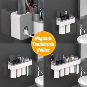 NEW-Magnetic-Toothbrush-Holder-Toothpaste-Dispenser-Bathroom-Organizer-Storage