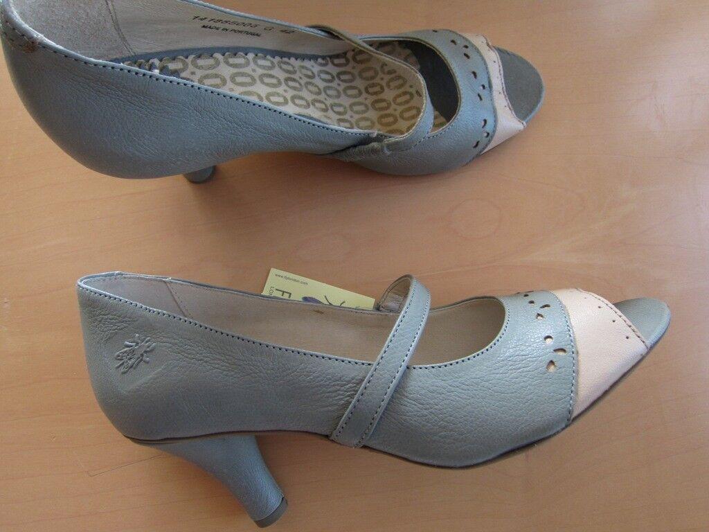 FLY LONDON grau schöne Sandale Pump Peeptoe Gr. 42 in grau LONDON creme  NEU 489645