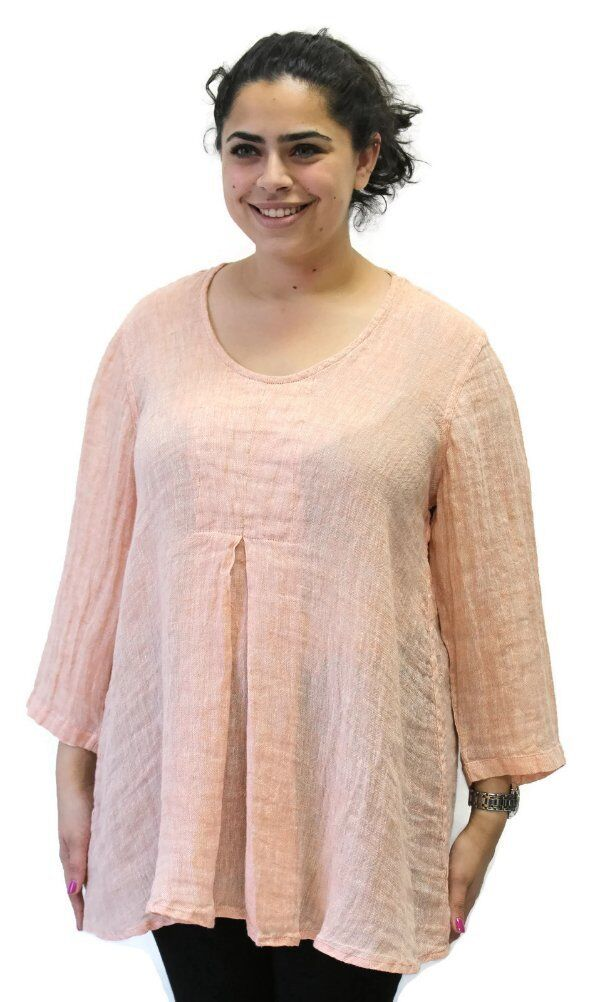 Flax Designs  Linen Gauze Woodstock Tunic Top NWT  Salmon Gauze  Größe  Medium