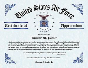 Military wife and family appreciation certificate gift ebay for Air force certificate of appreciation template