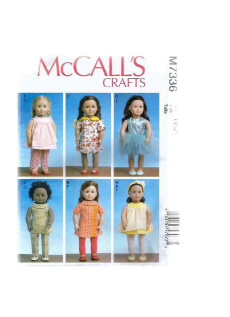 """McCall's Crafts Sewing Pattern M7336 Clothes for 18"""" Dolls NEW OOP"""