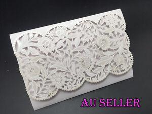 Bulk 1-100 Embossed Laser Cut Wedding Invitation Pocket Cards ...