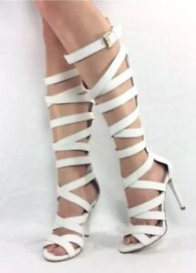 White Knee High Gladiator Heels
