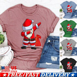 Women-Christmas-Xmas-Shirt-Sleeve-T-shirt-Santa-3D-Print-Tops-Festive-Tee-shirts
