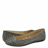 Women's Shoes Bamboo Quintus 80a Perforated Glitter Flat Pewter
