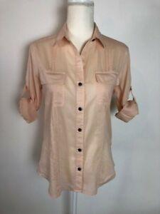 76f06092a18ed8 Kenneth Cole Womens Button Down Shirt Blouse Size 4 Peach Pockets ...