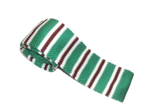 STYLISH GREEN WHITE BROWN SKINNY KNITTED ADULT TIE  MODS UK SELLER