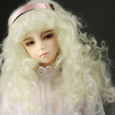 "Dollmore 1//4 BJD M. Blonde 7-8 /""  Synthetic Mohair Free Style Wig"
