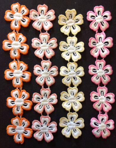 Bordado Encaje De Corte Flor Adornos cuatro colores 20 Flores total
