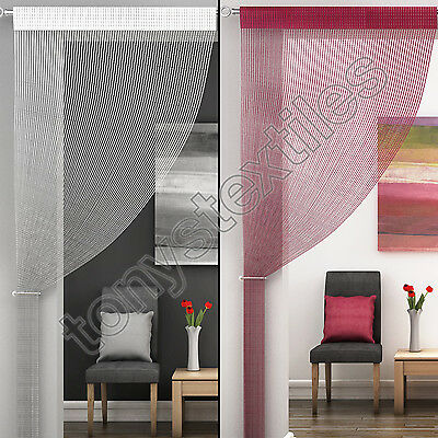 SPARKLE STRING WINDOW DOOR CURTAIN NET PANEL FLY SCREEN RED WHITE NEW