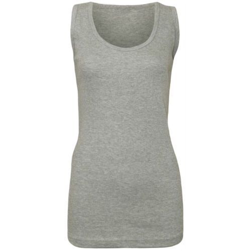 WOMEN PLAIN BRIGHT STRETCHY LADIES RIBBED VEST TOP T SHIRT STRAP UK 8-28