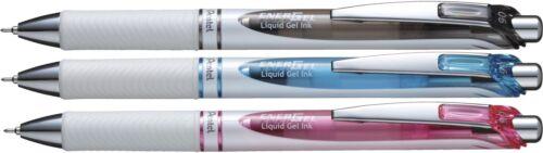 Red Blue Black INK 3 X Pentel EnerGel  Retractable Gel  Pen 0.5 mm WHITE BARREL