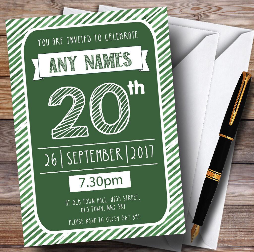 Grün & Weiß Stripy Deco 20th Personalised Birthday Party Invitations
