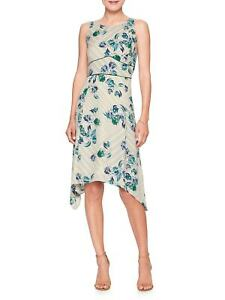 Banana-Republic-Dress-NEW-Fit-amp-Flare-Asymmetrical-Sleeveless-Blue-Floral-NWT-99