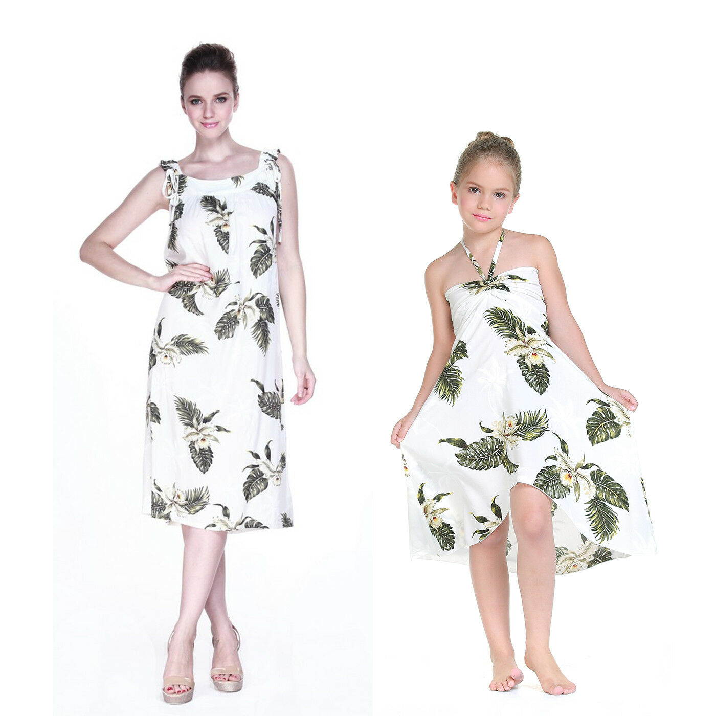 Mother Daughter Matching Dress Outfit Hawaiian Cruise Luau Melani Palm Green Whi