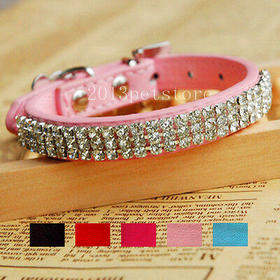 Dog collar Cat necklace bling Rhinestone kitten leather Puppy small Pet Collars