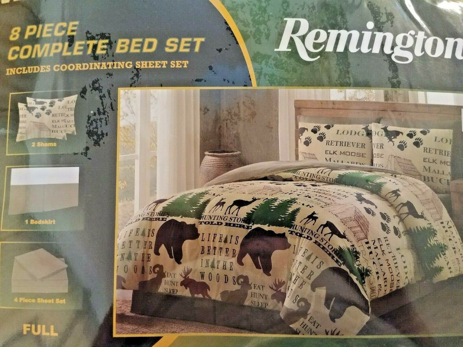 Remington Bear Moose Elk Plaid 8P FULL Größe Lodge Comforter Set