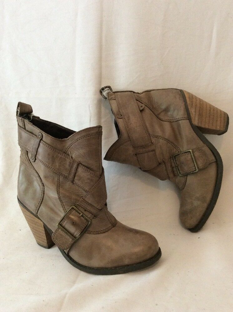 Redherring Brown Ankle Leather Boots Size 4