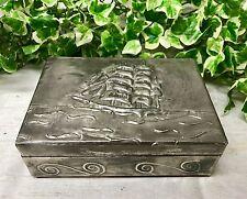 "Lovely Antique Vintage 6"" Pewter Cigar Box With Embossed Ship & Waves Design"