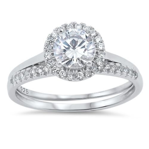Solitaire Engagement Wedding Halo Ring Ladies 925 Sterling Silver Round CZ