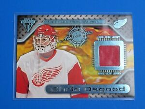 2001 PACIFIC TITANIUM GAME USED JERSEY ~ CHRIS OSGOOD GU HOCKEY CARD #96
