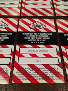 Details about TGI FRIDAYS FREE APPETIZER/DESSERT COUPONS GIFT NO EXPIRATION  $80 VALUE CARDS