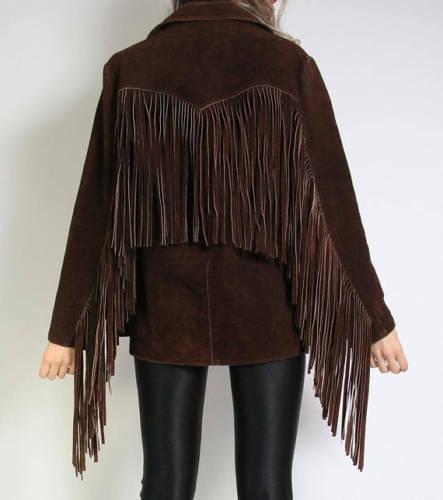 Femme Vintage en Daim Marron Veste en cuir femme Native Frange Western Wear Coat