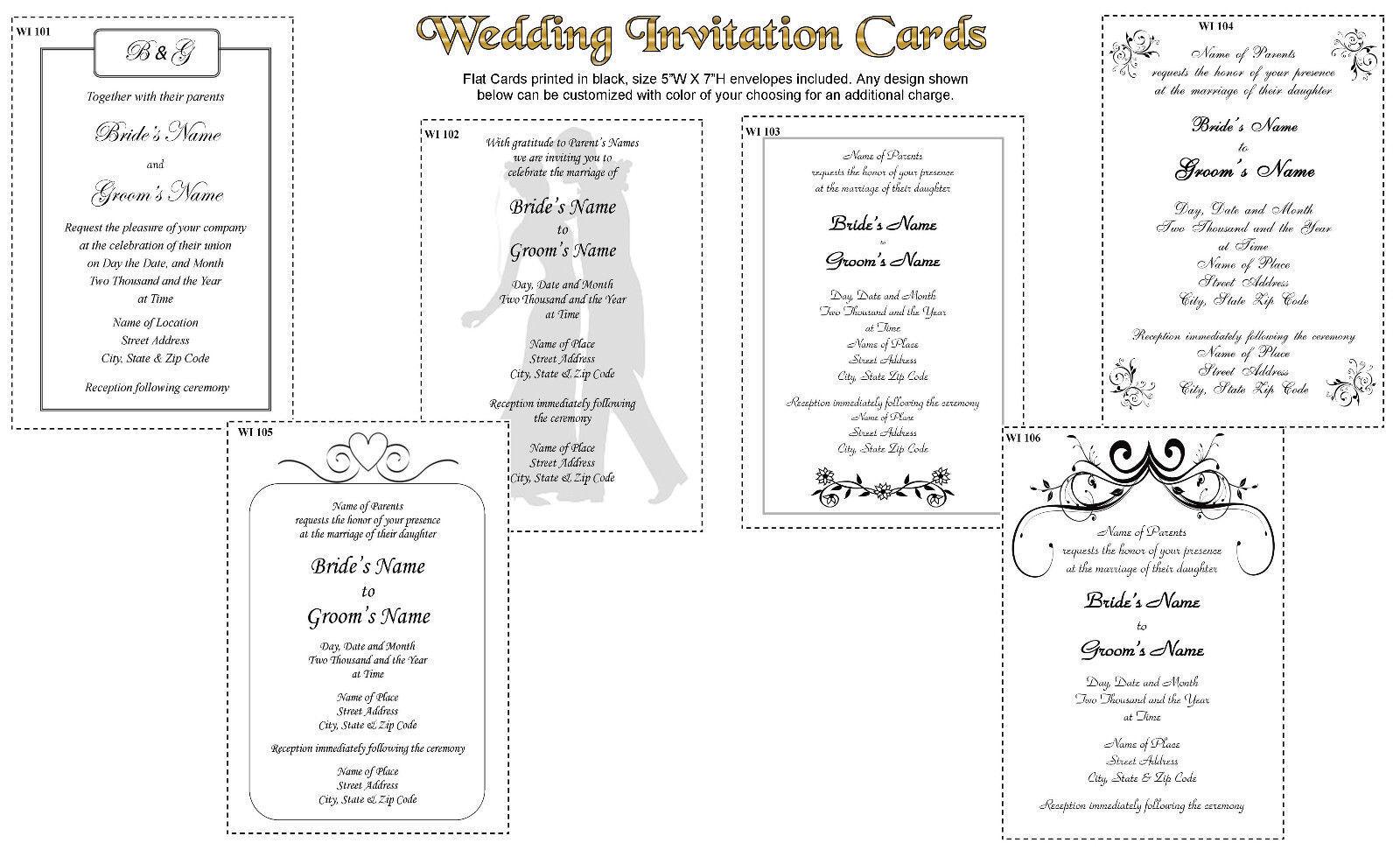 De mariage 100 Cartes d'invitation imprimé en noir coeurs avec enveloppes