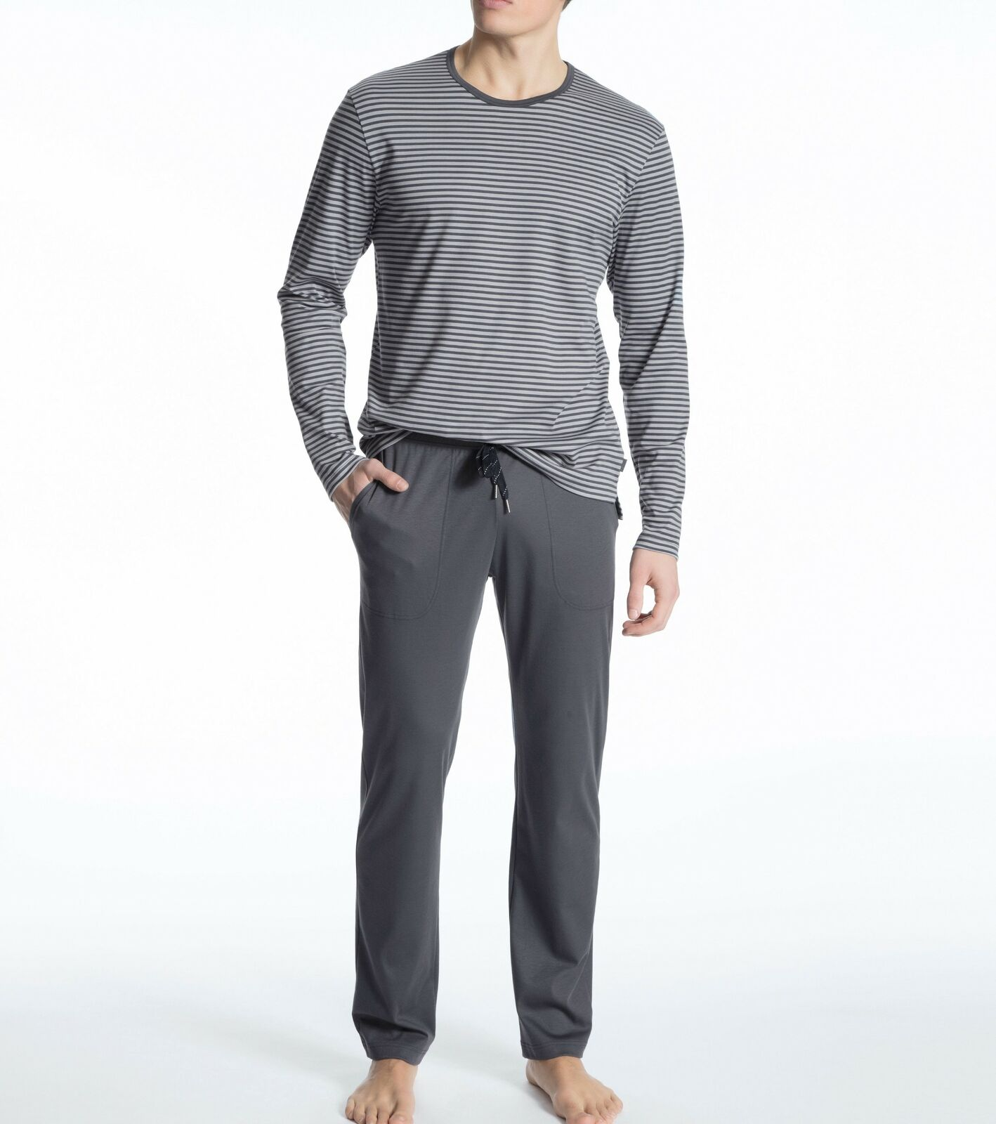 Calida Herren Pyjama Schlafanzug lang ohne Bündchen Art. 49768 100% Baumwolle