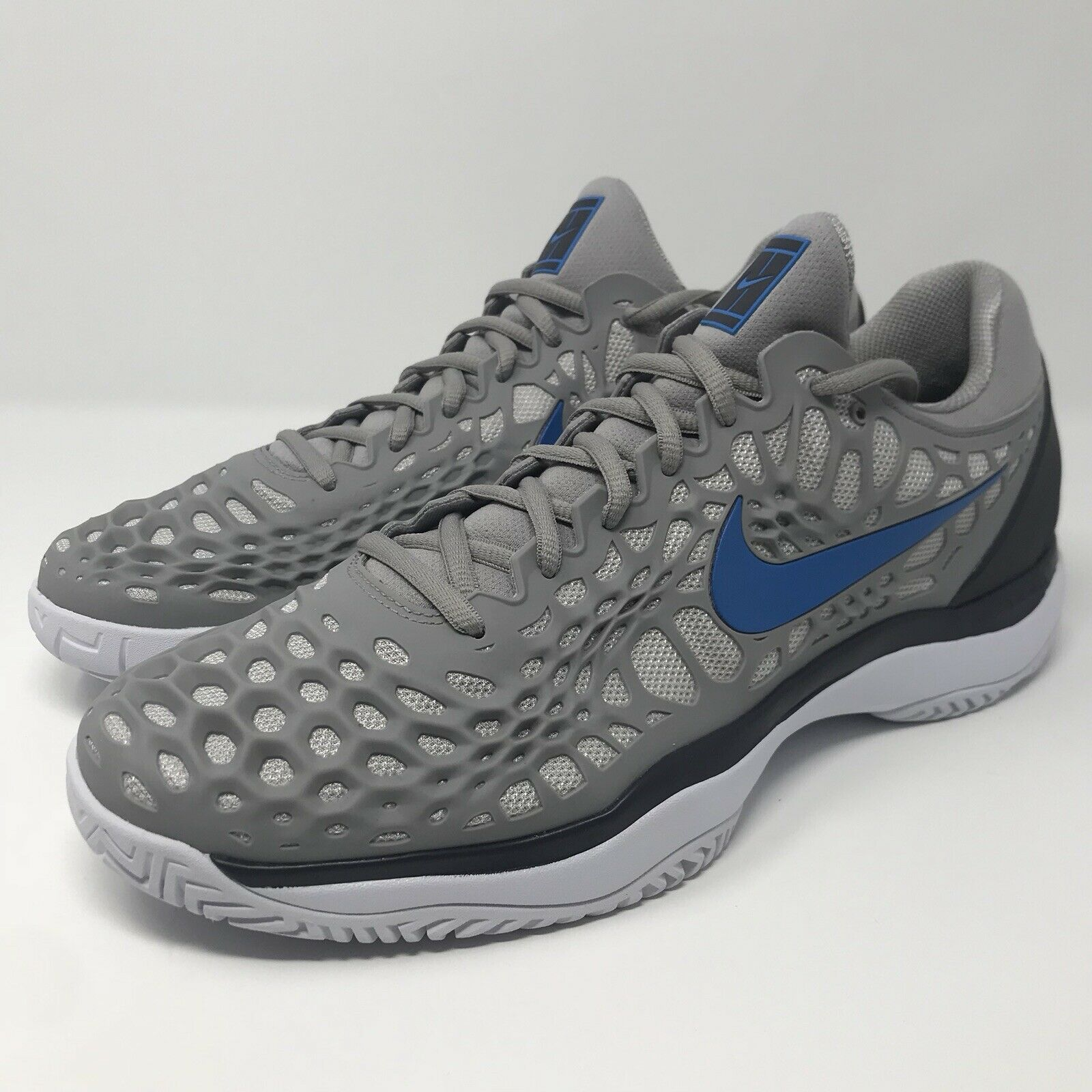 Nike Air Zoom Cage 3 Hard Court Tennis shoes 918193-049 Grey blueee Men Size 11.5