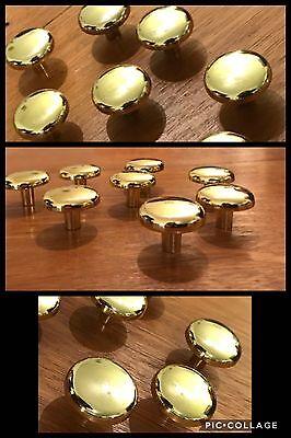 6 Knobs Bullseye Bright Brass Pull Round Cabinet Drawer Mid Century Deco Vintage