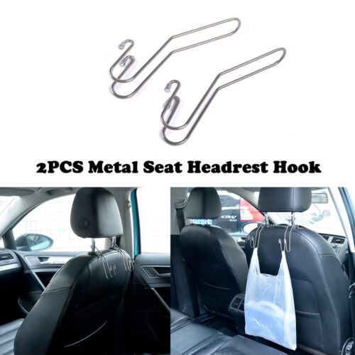 2PCS Metal Multi-functional Car Seat Hook Auto Headrest Hanger Bag Holder Clips