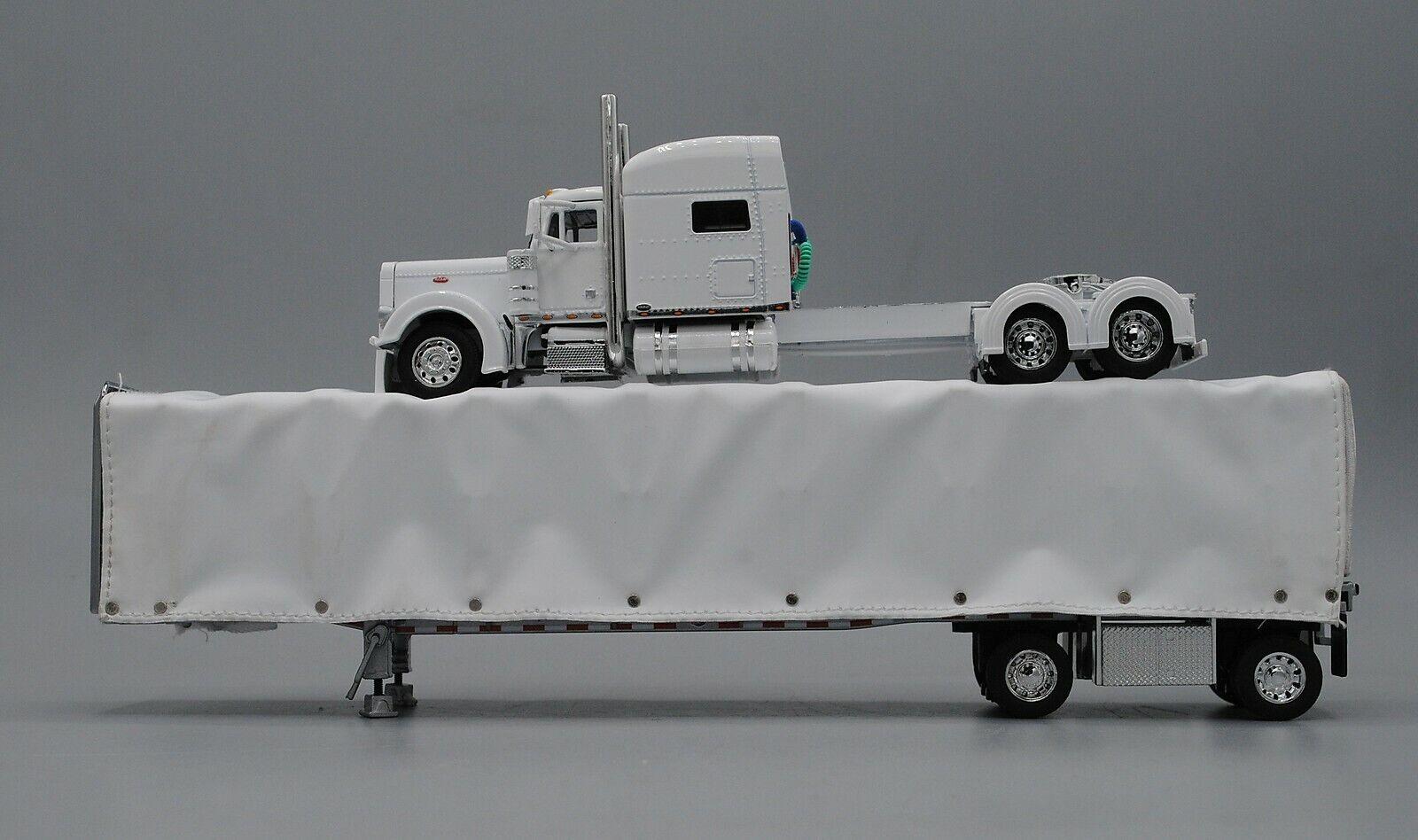 WHITE PETERBILT 379 70  W  WHITE CURTAIN SIDE TRAILER DCP 60-0527