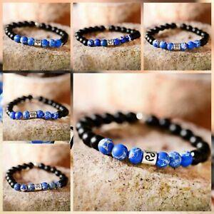 VLINRAS Zodiac Bracelet for Men Women 8mm 10mm Natural Black Onyx Stone Star Sign Constellation Horoscope Bracelet Gifts