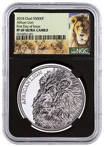 2018-Republic-Chad-African-Lion-1-oz-Silver-5-000F-NGC-PF69-UC-FDI-Blk-SKU51661