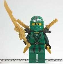 LEGO NINJAGO MINIFIGURE LLOYD ZX 2 GOLD SHAMSHIR SWORDS GREEN NINJA WITH ARMOR