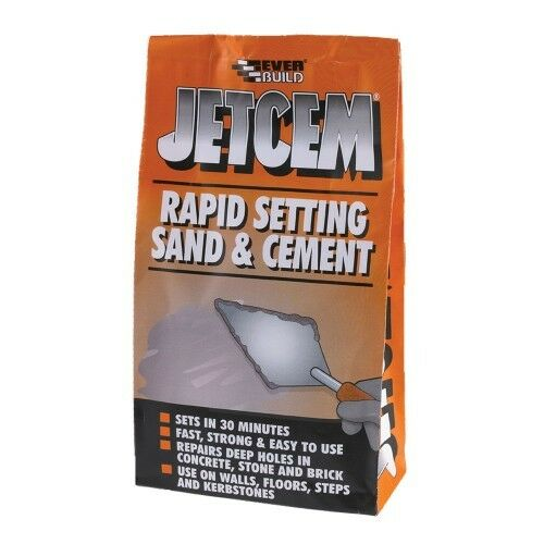 EVERBUILD JETCEM PREMIX RAPID SETTING SAND & CEMENT 2KG GREY PATCHING REPAIR