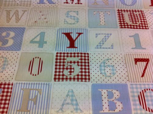 FRYETT`S  ABC//123 BLUE 100/% Cotton,Childrens Fabric for Curtains,Crafts,Quilting