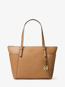 a2dde816b87b Michael Kors Jet Set Large Top-Zip Saffiano Leather Tote Acorn ...