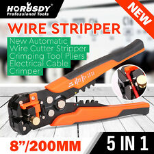Self Adjusting Insulation Wire Stripper Cutter Crimper Cable Stripping Tools 8""