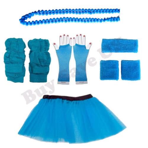 Neon Bleu Gants Jambières perles S 1980 S Fancy Dress Costume Lot