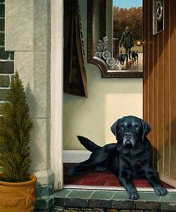Nigel-Hemming-FRIENDS-REUNITED-Old-Black-Labradors-Labs-Gun-Dogs-Doorway-Cute