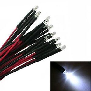 10-Stueck-mit-Vorwiderstand-verkabelte-LED-weiss-fuer-Hausbeleuchtung-Modellbahn
