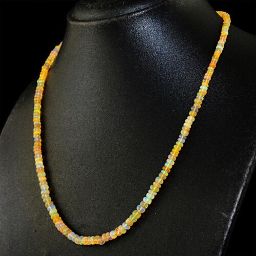 Ethiopian Fire Opal necklace with 18 kt length 50 cm gold Clasp 750//1000