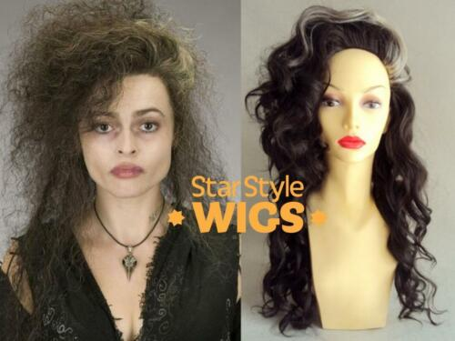 DELUXE BELLATRIX LESTRANGE HARRY POTTER WITCH LONG CURLY BROWN HALLOWEEN WIG